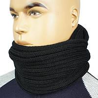 Стильний чоловічий в'язаний шарф-снуд Apex М:52 black чорного кольору