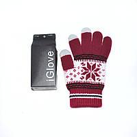 1021 перчатки зимние для сенсорных экранов красные орнамент, фото 1