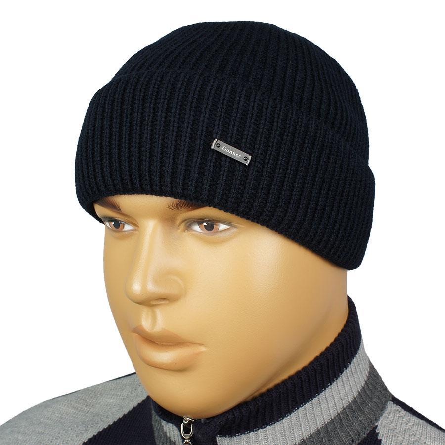 Черная мужская шапка Gunner G-0170 black с отворотом