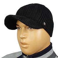 Мужская черная вязаная шапка Apex Sport К0 36 black с козырьком d51059871128a