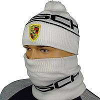 Комплект шапка+бафф для мужчин с логотипом PORSCHE P 18 white в белом цвете