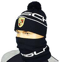 Мужской стильный комплект шапка и бафф в стиле PORSCHE P 18 d.blue