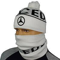 Светлый мужской комплект шапка и бафф в стиле MERCEDES M 18 white
