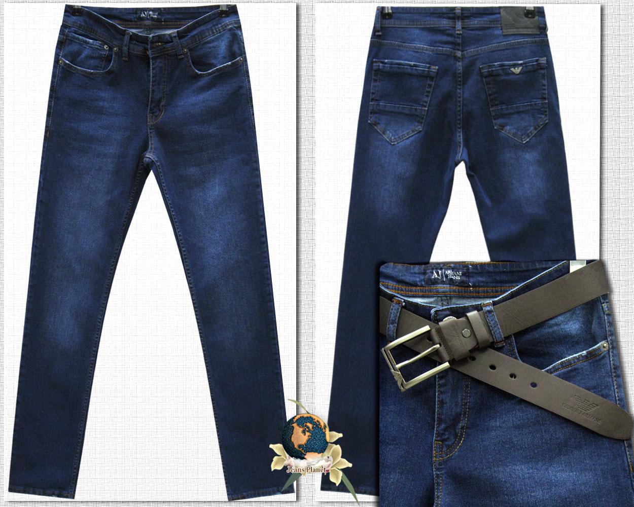 Джинсы мужские стильные зауженные Armani синего цвета 34 размер