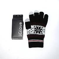 1019 перчатки сенсорные черные орнамент