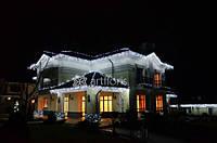 Украшение фасадов к новому году, новогоднее оформление фасада, праздничная иллюминация домов, коттеджей, разра