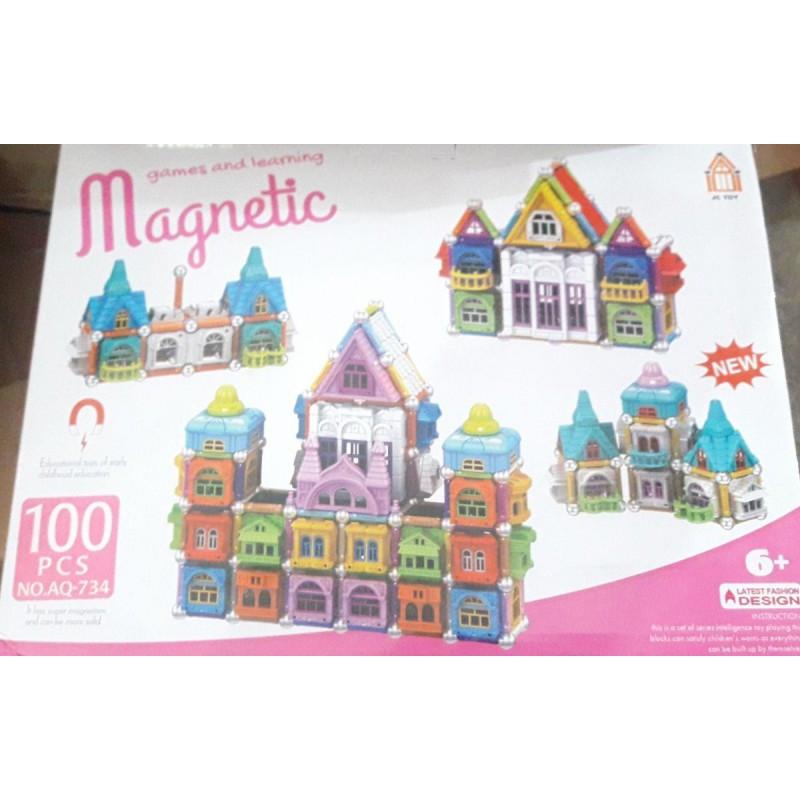"""Конструктор магнитный """"Замок"""" Magnetic AQ-734 100 деталей"""