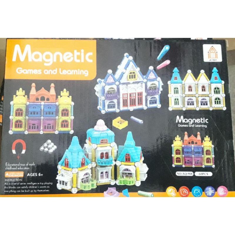 """Конструктор магнитный """"Замок"""" Magnetic AQ-908 60 деталей"""