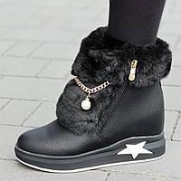 Женские зимние ботинки на танкетке черные удобная колодка стильные на мягкой подошве (Код: 1314), фото 1