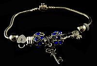 Пандора (1) с синими камушками , фото 1