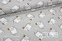 Ткань сатин Слоны с коронами на сером БРАК полоска каждые 60 см, 58 см от кромки (фото №3)