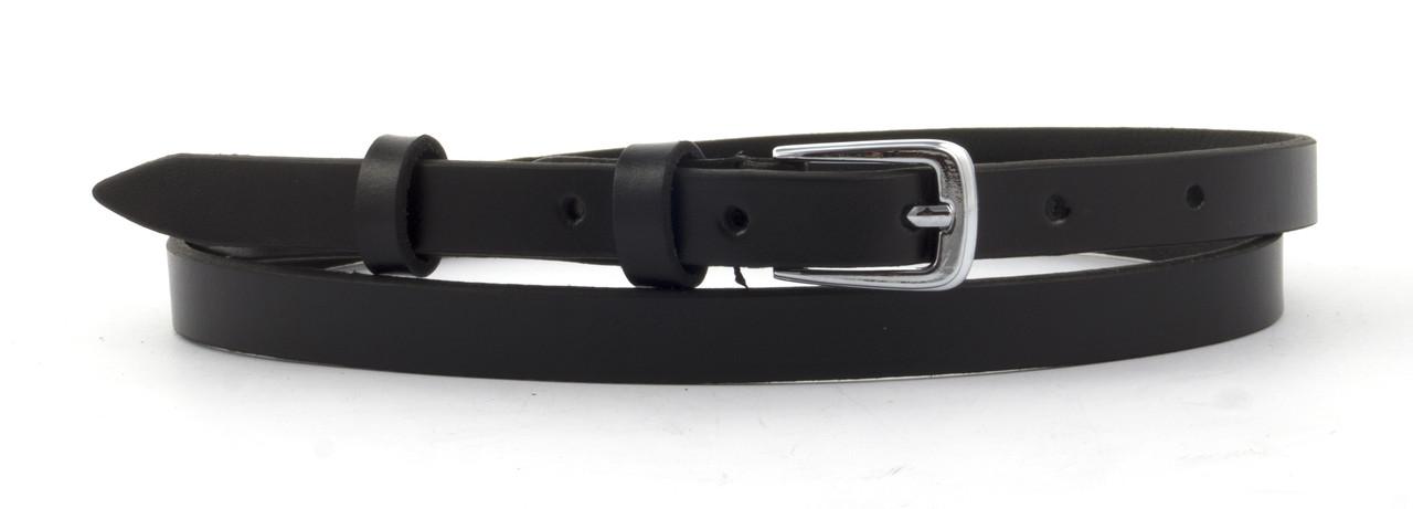 Прочный женский стильный кожаный ремень с классической пряжкой 1,2 см  (103608) черный