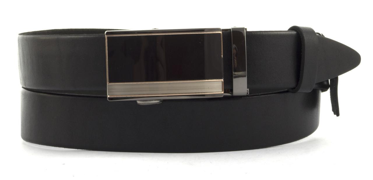 Мужской стильный ремень из натуральной плотной кожи с качественной пряжкой 3,5 см art. 103543 черный автомат
