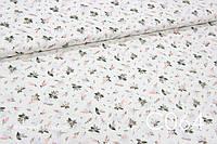 Ткань сатин Анемоны персиковые мелкие, фото 1