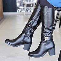 40d8b1aa Женские зимние сапоги сапожки на широком каблуке черные кожаные на меху  элегантные (Код: 1309а