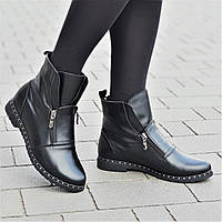Очень оригинальные и стильные женские зимние ботильоны полусапожки ботинки кожаные черные (Код: 1312а)