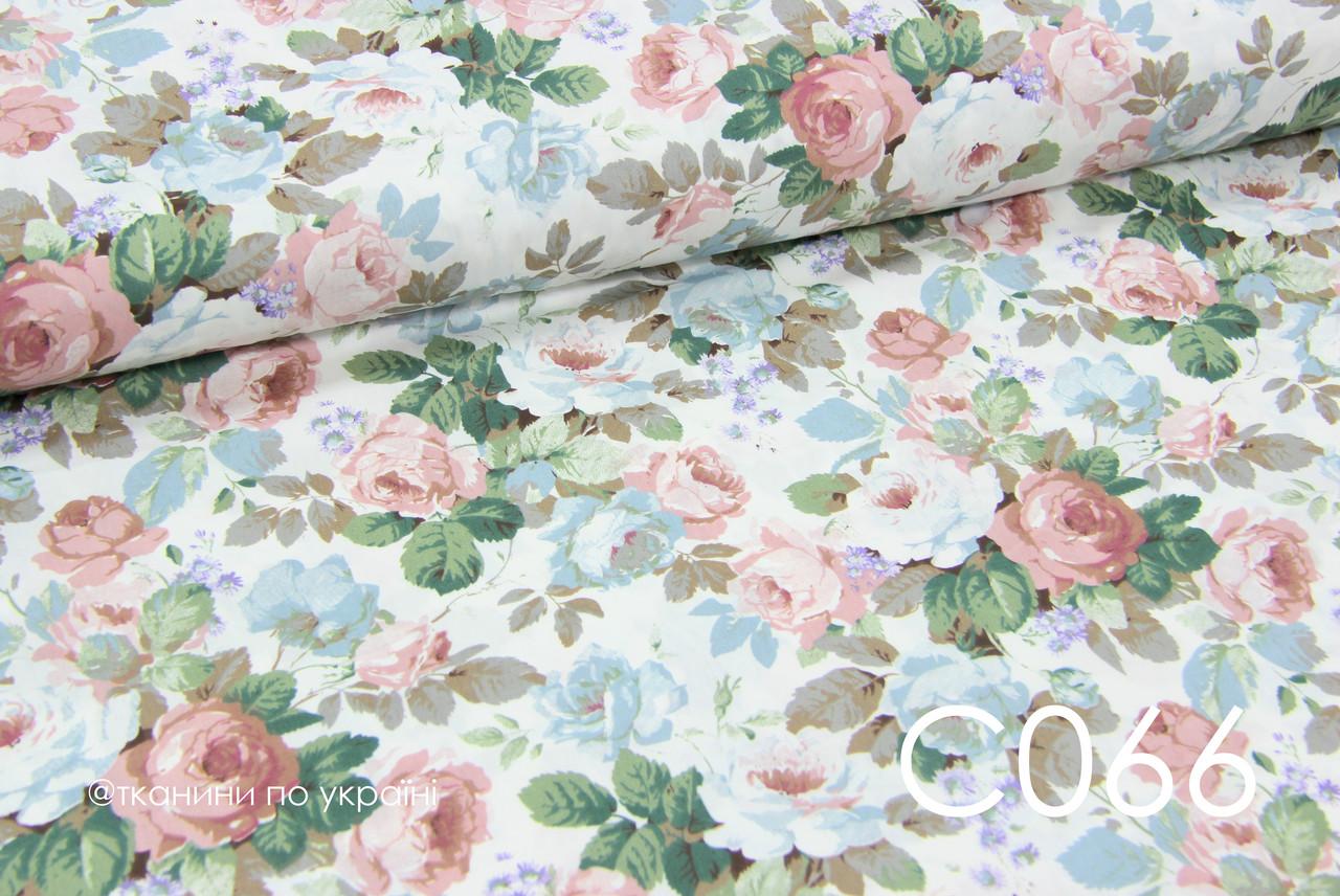 Ткань сатин Розы винтаж