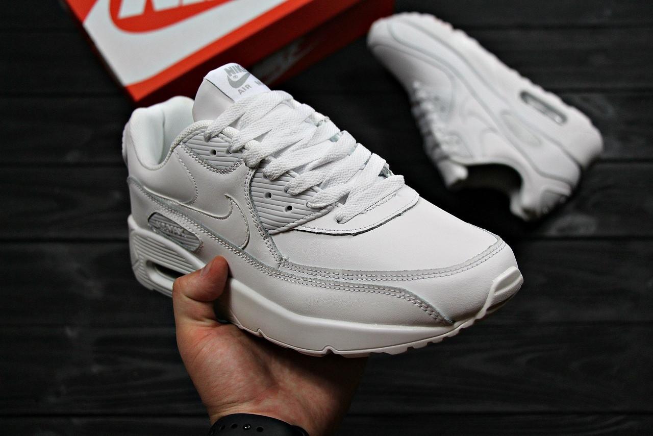 Nike Air Max 90 Leather White   кроссовки женские и мужские, белые, кожаные,  ... 573bae8609a