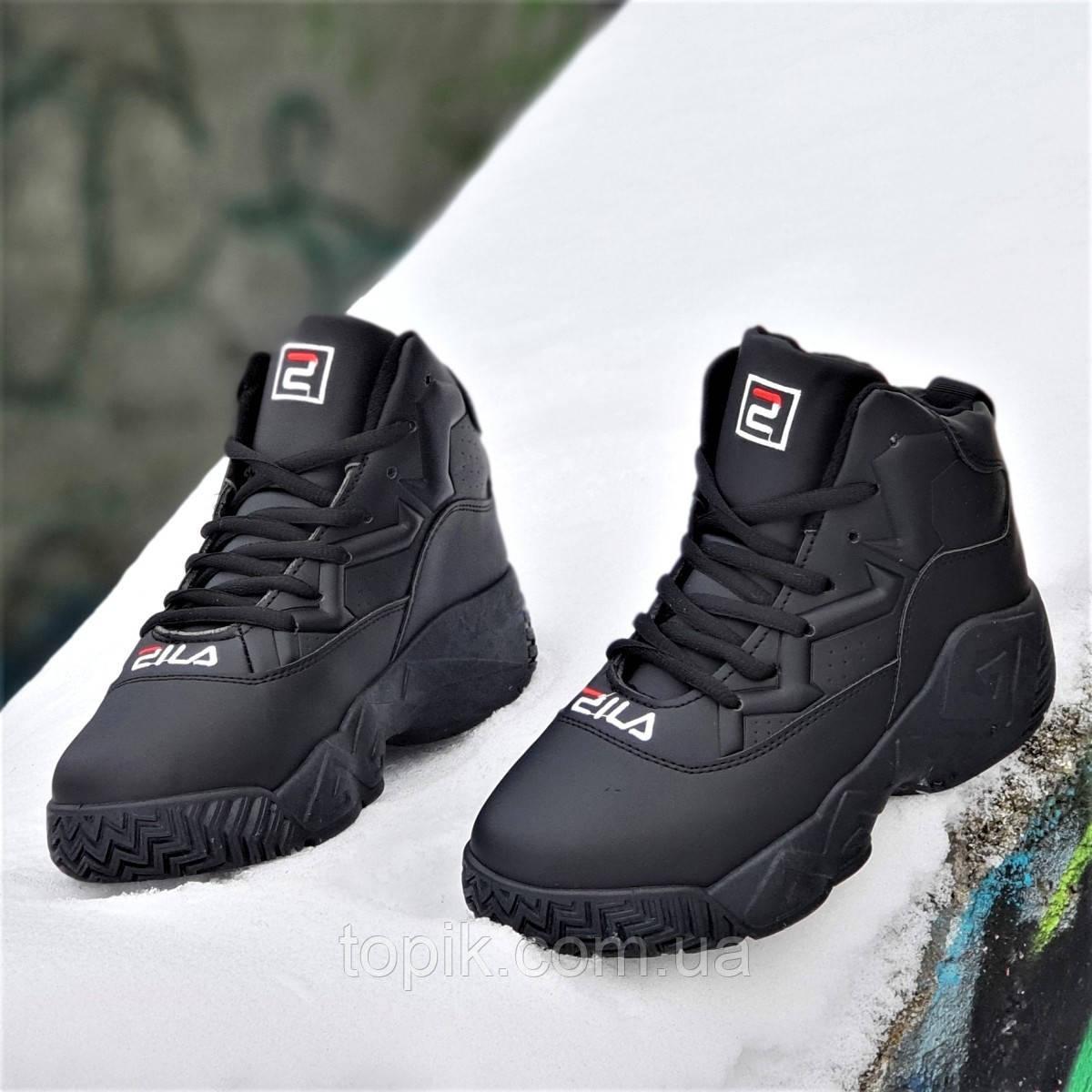Улетные зимние кроссовки на платформе в стиле FILA черные на высокой толстой подошве унисекс (Код: 1318а)