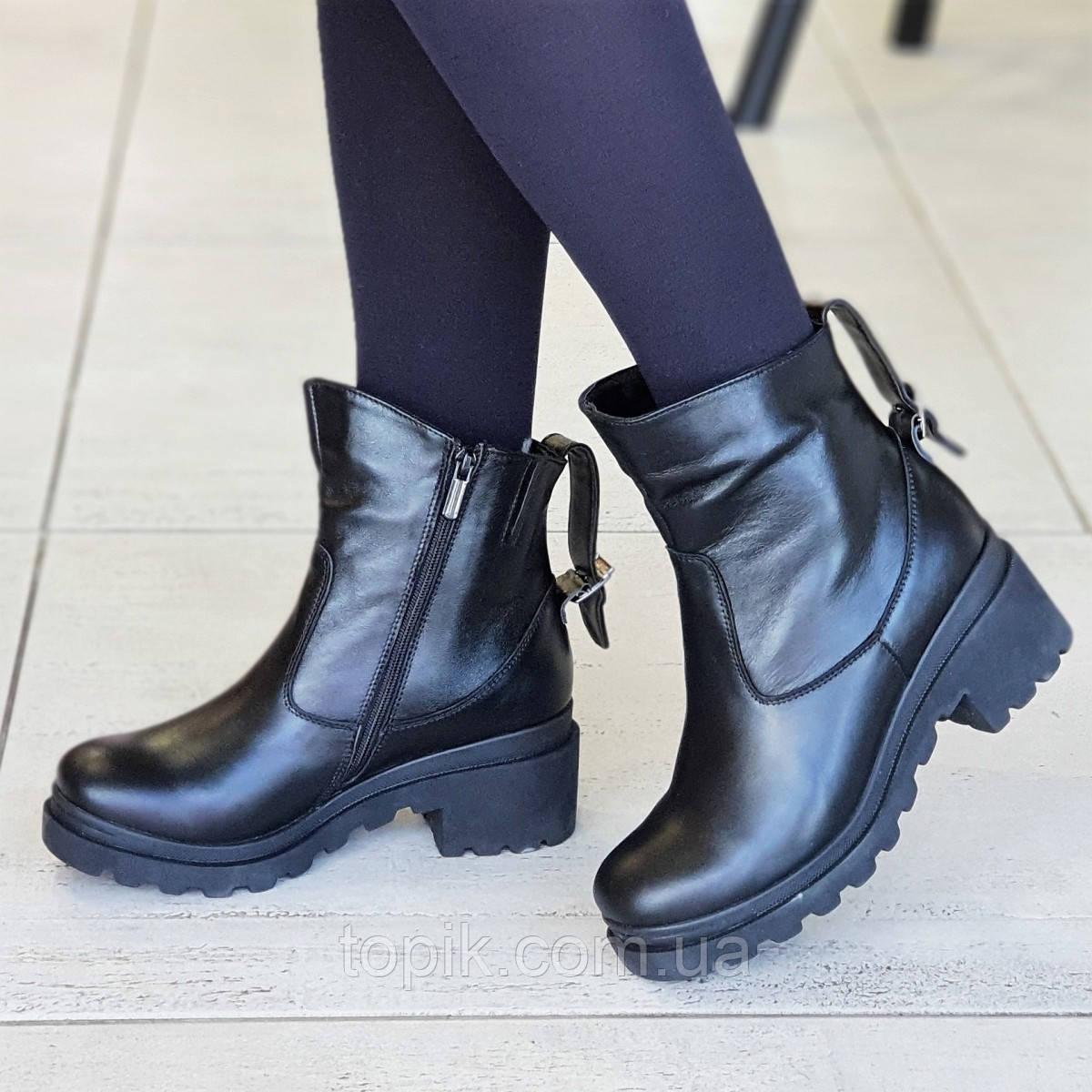 725e76c9 Женские зимние ботинки кожаные черные удобная колодка мягкая и легкая  подошва (Код: 1319а)