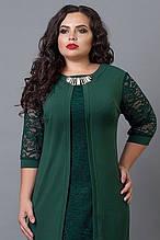 Нарядное платье-имитация двойки с кружевом в тон, большие размеры
