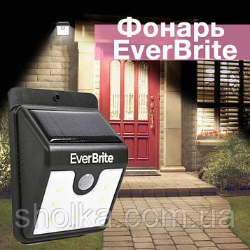 """Уличный LED Светильник на солнечных батареях с датчиком движения """"EverBrite"""". Эвэр  брайт. Ever Brite"""