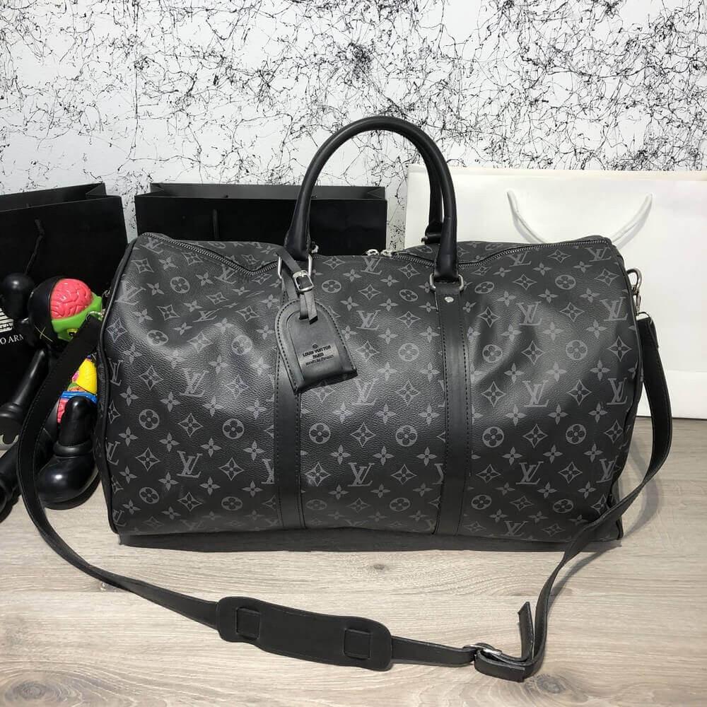 5ccb0e364f92 Дорожная сумка Louis Vuitton Keepall 55 стильная черная луи виттон - Tali  Fashion - стильная одежда
