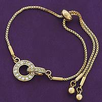 Стильный женский браслет позолота ХР . Медицинское золото. Код:1412