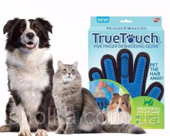 Массажная перчатка для чистки животных True touch 908-27