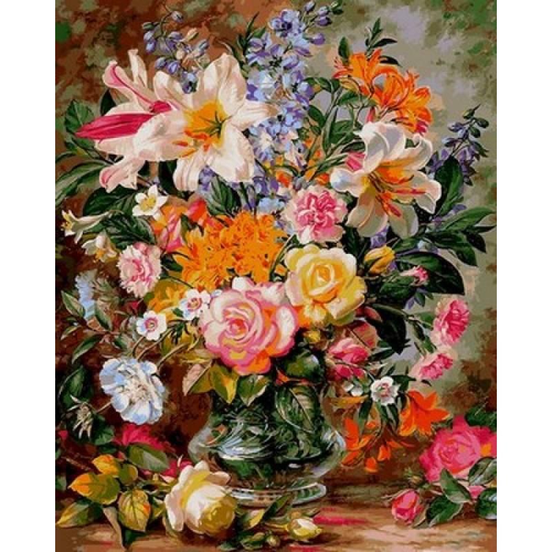 Раскраска по номерам Букет из роз и лилий VP1056 Babylon Turbo 40 х 50 см