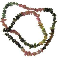 Бусины Натуральный Камень Сколы Турмалин Арбузный, Крошка Камня Мелкая, Размер: 4-8*2-4 мм, Около 41 см. нить,