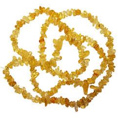 Бусины Сколы Цитрин, Крошка Камня Мелкая, Размер: 5-9*2-4 мм., Отвер. 1 мм, около 85 см. нить