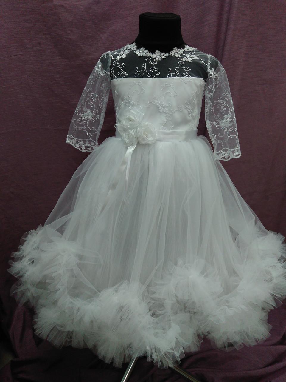 Платье детское нарядное белое с пушистой юбочкой на 4-6 лет