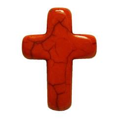 Подвеска Кулон Крестик Глазурованный, Цвет: Оранжевый, Размер: 25*18*6 мм., Отверстие 1,5 мм.