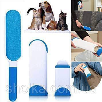 Щетка для удаления шерсти животных Reusable Pet Fur Remover With Self-Cleaning Base