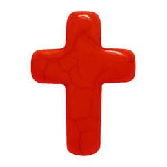 Подвеска Кулон Крестик Глазурованный, Цвет: Красный, Размер: 25*18*6 мм., Отверстие 1,5 мм.