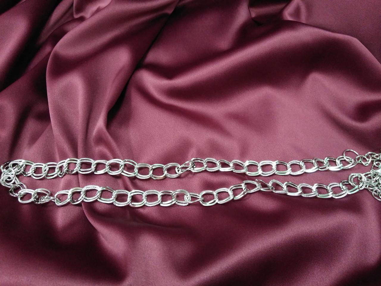 Металлический пояс из цепочек серебряный