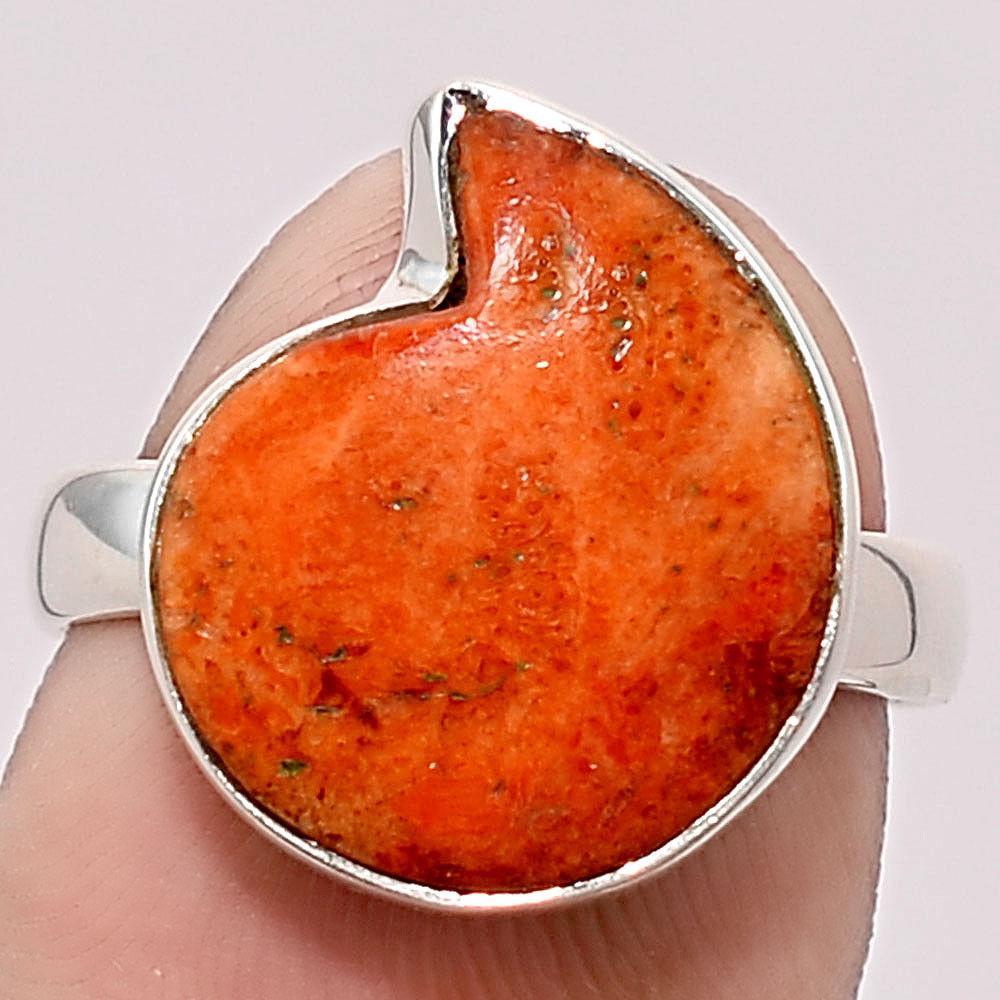 Коралл губчатый, 13*15 мм., серебро 925, кольцо, 1440КЦК