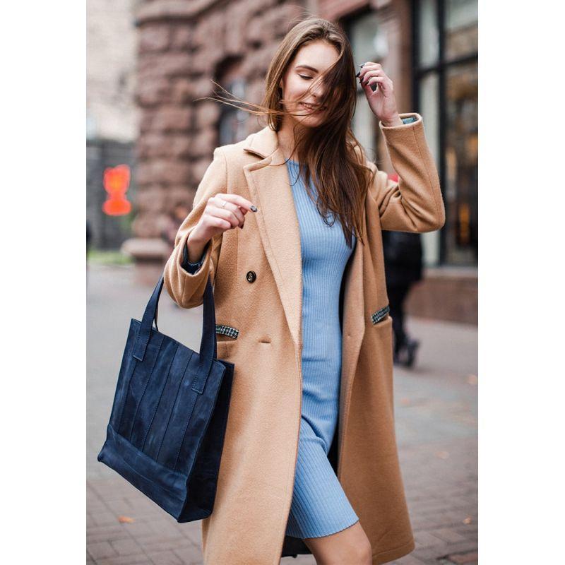 Кожаная женская сумка шоппер Бэтси синяя