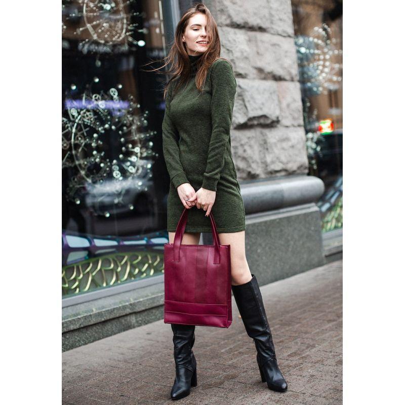 Кожаная женская сумка шоппер Бэтси бордовая