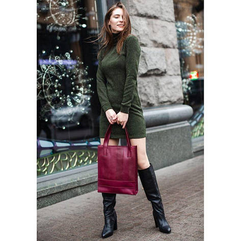 Кожаная женская сумка шоппер Бэтси бордовая, фото 2
