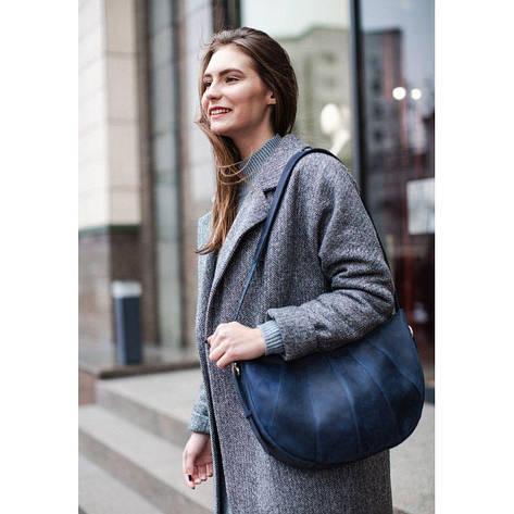 Кожаная женская сумка Круассан синяя, фото 2