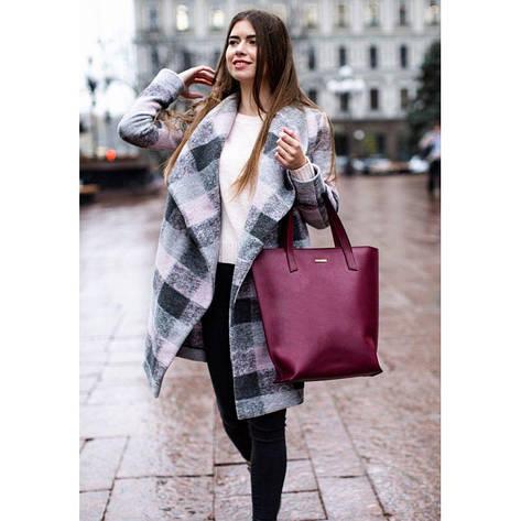 Кожаная женская сумка шоппер D.D. бордовая, фото 2