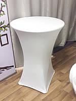 Стрейч чехол на стол 80/110 Белый из плотной ткани Спандекс
