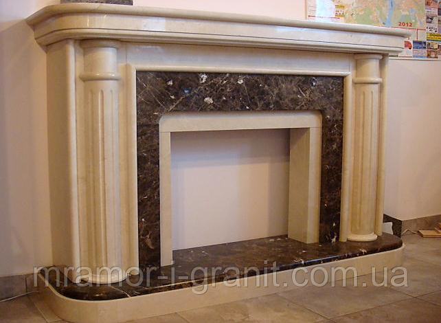 Мраморный камин Crema Marfil+Emperador Dark