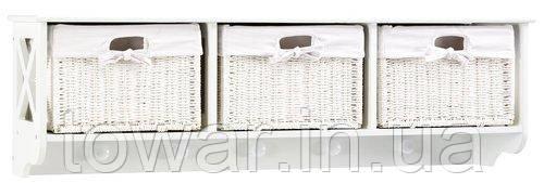Полка настенная 3 корзины белая, Ш100 x В30