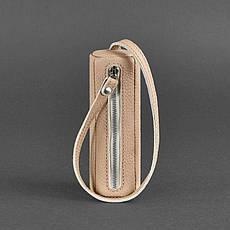 Женская кожаная женская ключница 3.0 Тубус светло-бежевая, фото 2