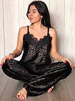 Черная пижама женская велюровая , майка и штаны