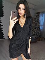 8a6becd967f Черное блестящее платье на запах из трикотажа с люрексом VL4201 S M. Один  размер