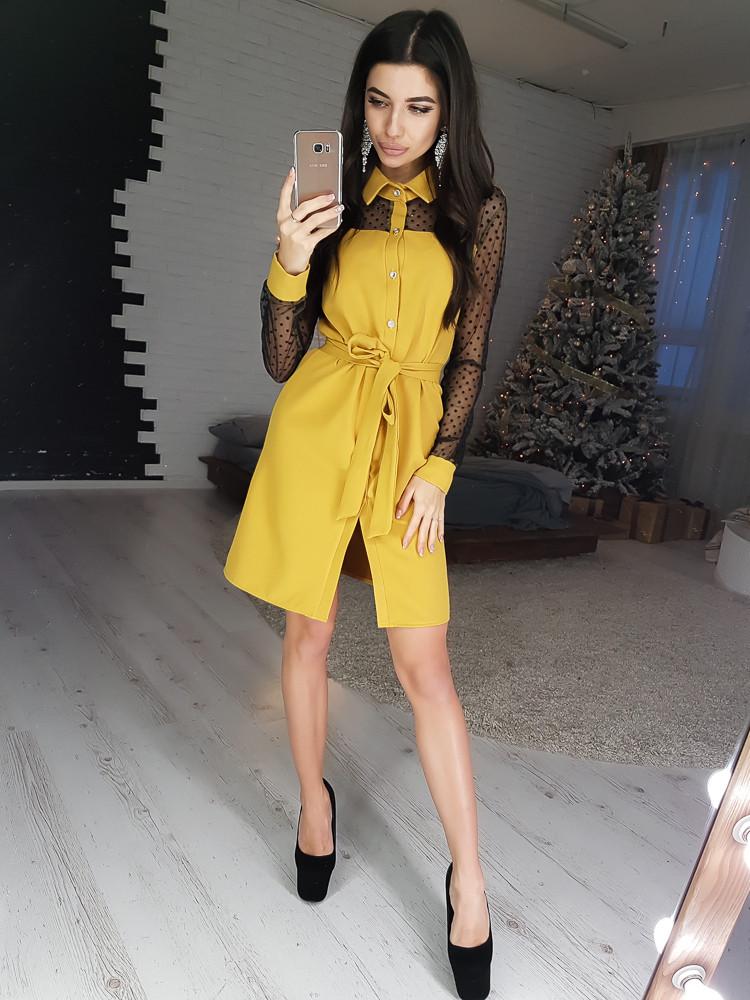 188e22b641d05e9 Платье-рубашка горчичного цвета с сетчатыми вставками VL4210-1 M. Размер 44  -